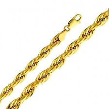 Solid 14k Gold 5mm Thick Silky Diamond Cut Semi-Hollow Rope Chain 18 20 22 24 26