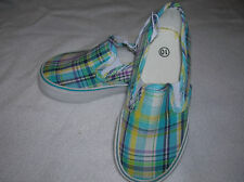 TODDLER shoes (size 5,6) SNEAKERS TODDLER aqua plaid slip-on unisex