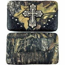 Western Cowgirl Camouflaged Mossy Forest Oaks PU Leather Rhinestone Cross Wallet