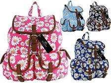 Canvas Backpack Rucksack Casual Daypack Daisy Floral Print Backpacks Bags QL151M