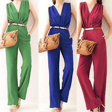 Fashion Womens Ladies OL Deep V Neck Sleeveless Cocktail Party Jumpsuit Rompers