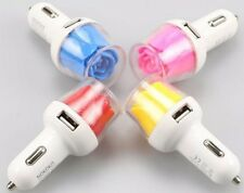 Dual USB Car Charger for Cell Phones and All Mobile Devices, Lighted Rose