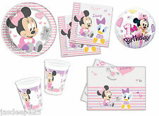 Baby Minnie Mouse 1st Birthday Party Supplies Tableware Decorations Plates Cups