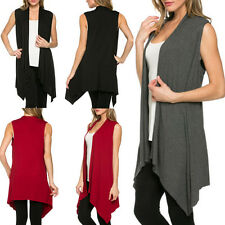 Sexy Women Open Front Vest Long Tunic Shawl Collar Draped Cardigan Top S M L XL