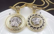 """14k Gold Plated Medusa Head-Versace-Style Pendant Necklace W/ 30"""" Franco Chain"""