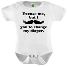 Mustache You To Change My Diaper Onesie ORGANIC Cotton Romper Baby Shower Gift F