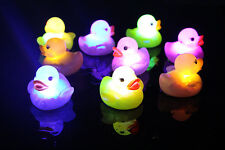 1X Baby CA Kids Bath Bathing Duck Funny Multi Color Changing Flashing LED Toy HO