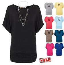 Womens Ladies Oversized Batwing Boat Neck Jersey Long Top Tunic Dress Necklace