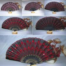 Colorful Folding Fan Fabric Embroidered Peacock Tail Sequins Hand Held Fan Hot