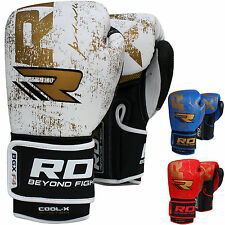 RDX Leather Gel Boxing Gloves Fight Punch Bag MMA Muay thai Grappling Pad MT CA