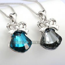 Fashion Silver Rhinestone Shell Bow Knot Necklace Pendant 18KGP Crystal