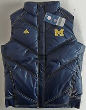 Michigan Wolverines Adidas Polyfill Quilted Puffy Vest Navy Blue - M & L - New!