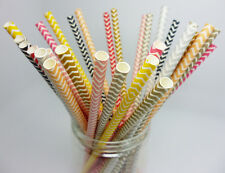 25 Colorful Paper Drinking Straws Chevron Striped Straws Wedding Birthday Party