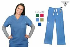 Material Girl Scrub Set Stretch Top and Pants (Xs-2xl /5 Colors) 1054-08
