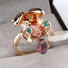 Frog Fashion Ring 18KGP CZ Rhinestone Crystal Size 5.5-9