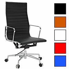 Real Leather Charles Eames Era Ribbed Office Chair Low or High Back