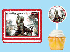 Assassin's Creed  Edible Birthday Party Cake Cupcake Topper Plastic Pick Sticker