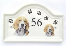 House Door Ceramic Dog Number Plaque plate Pawprints Sign Outdoor Any Breed (A-P