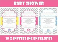 10 x Personalised Baby Shower Invites & Envelopes Pink Blue Yellow Invitations