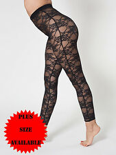 Womens Sheer Floral Lace Black Ladies Leggings Stretchy Sizes PLUS SIZES 8-26