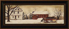 """""""CHRISTMAS TREES FOR SALE"""" by Billy Jacobs 9x21 FRAMED PRINT Wagon Barn Winter"""