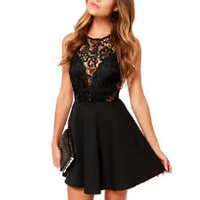 Women Summer Sexy Casual Lace Sleeveless Party Evening Cocktail Short Mini Dress