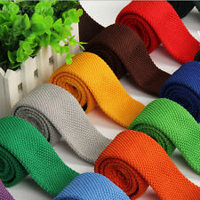 Men Skinny Solid Color Knit Knitted Slim Wedding Party Flat Tie Narrow Necktie