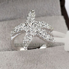 Fashion Starfish Ring 18KGP CZ Rhinestone Crystal Size 5.5-9 CZ