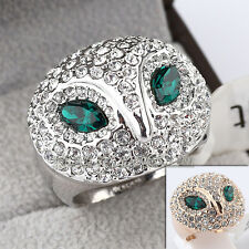 Fashion Owl Ring 18KGP CZ Rhinestone Crystal Size 5.5-9
