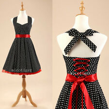 Women Polka dot Vintage Rockabilly 50s 60s Swing Prom Party Dress Petticoat 013