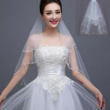 2 Layer White Wedding Bridal Veil Elbow Length Pearl Sequins Edge With Comb