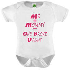 Me Mommy One Broke Daddy Onesie ORGANIC Cotton Romper Baby Shower Gift Funny Pre