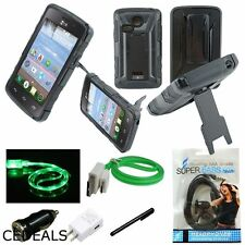 For LG Sunrise L15G Lucky L16C TracFone Case Gel Cover Clip Holster Green + More