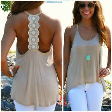 Fashion Women Casual Sleeveless Tank Top Sexy Lace Backless T-Shirt  Vest Blouse