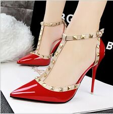 Womens Fashion Rivet Pointed Toe Stilettos High Heels Ankle Strap Shoes Sandals