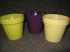 """NEW 5""""D x 4 ½""""T EGGPLANT or LIME or YELLOW Pottery KITCHEN PLANT POT CONTAINER"""