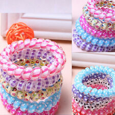 20pcs Women Hair Ring Rope Ponytail Holder Elastic  Telephone Line Bands Candy