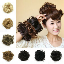 Hot Women Girls Synthetic Fiber PonyTail Hair Bun Hairpiece Extension Scrunchie