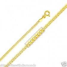 Solid 14k Yellow Gold 2.2mm Cuban Chain 16 18 20 22 24 26 Inches