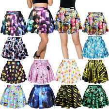 Fashion Women's Print High Waist Pleated Short Mini Skirt Skater Flared Dress