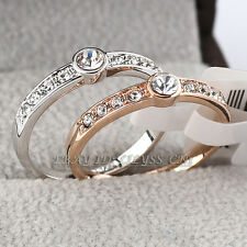 Fashion Band Ring 18KGP use Rhinestone Crystal Size 5.5-9