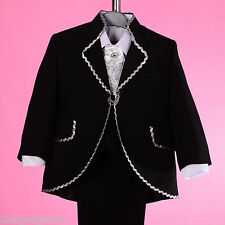 5pc Set Formal Suit Outfit Christening Wedding Page Boy Solid Age 4y-6y #026A