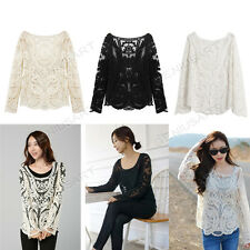 Hot Sexy Semi Sheer Sleeve Embroidery Floral Lace Crochet Tee Top T Shirt Blouse