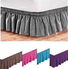 Elastic Bed Skirt Dust Ruffle Easy Fit Black Queen King Full Twin Size +COLORS +