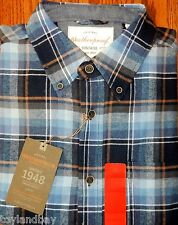 Weatherproof Vintage Mens Brushed Cotton Flannel Shirt New With Tags Navy Plaid