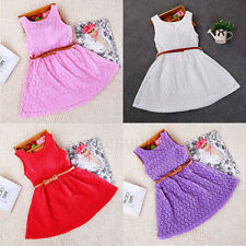 Fancy Girls Dresses Princess Party Lace Dress + Waistband Fit For 2-7 Years Old