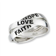 3-Band Sterling Silver HOPE-FAITH-LOVE Rolling Russian Wedding Ring 925 Jewelry