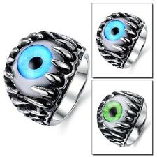 Men's Fashion Gothic Rock Originality Opal Pure Stainless Steel Ring #7-10 GJ431