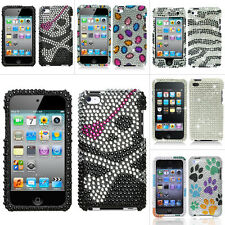 For Apple iPod Touch 4 4th Gen Silver Skull Zebra Dog Paws Bling Hard Case Cover
