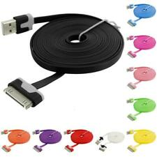 2X 10 FT Noodle Flat USB Sync Data Cable Cord 3M for iPhone 4 4S 3GS iPod Touch